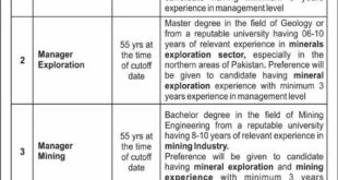 Job For Managers In Mines & Mineral Exploration Company, Islamabad